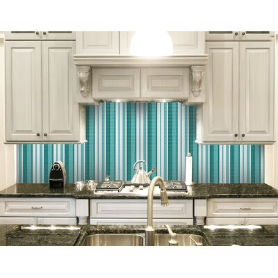 Urban Essentials Varied Stripes 3/4 x 3/4 Glass Glossy Mosaic in Deep Teal