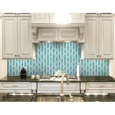 Urban Essentials Modern Bamboo 3/4 x 3/4 Glass Glossy Mosaic in Deep Teal