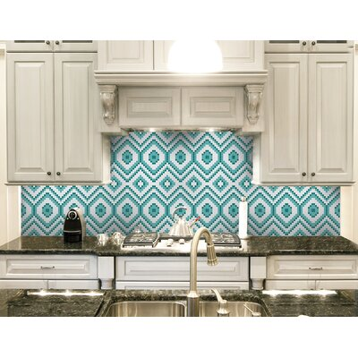 Urban Essentials Funky Diamond 3/4 x 3/4 Glass Glossy Mosaic in Deep Teal