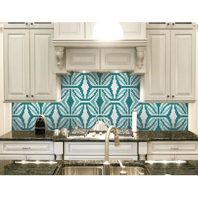 Urban Essentials Gothic Ornament 3/4 x 3/4 Glass Glossy Mosaic in Deep Teal