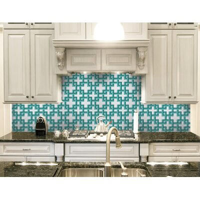 Urban Essentials Dimensional Lattice 3/4 x 3/4 Glass Glossy Mosaic in Deep Teal