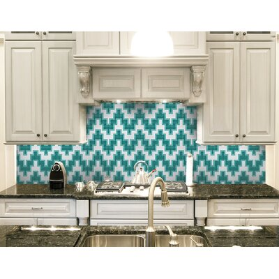 Urban Essentials Stepped Chevron 3/4 x 3/4 Glass Glossy Mosaic in Deep Teal