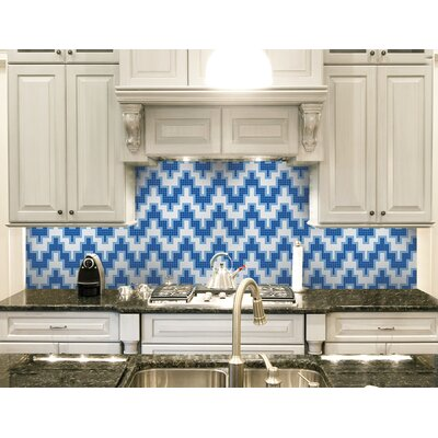 Urban Essentials Stepped Chevron 3/4 x 3/4 Glass Glossy Mosaic in Lakefront Blue