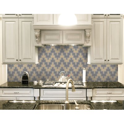 Urban Essentials Stepped Chevron 3/4 x 3/4 Glass Glossy Mosaic in Urban Khaki