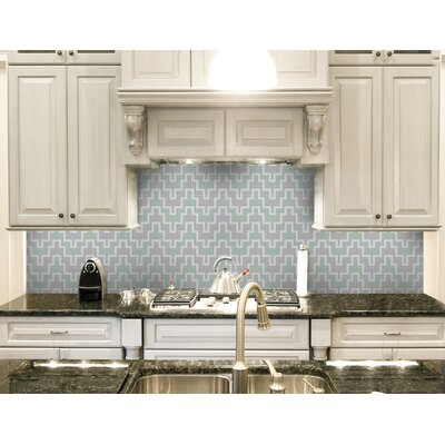 Urban Essentials Stepped Chevron 3/4 x 3/4 Glass Glossy Mosaic in Placid Turquoise