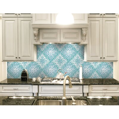 Urban Essentials Scatter 3/4 x 3/4 Glass Glossy Mosaic in Deep Teal