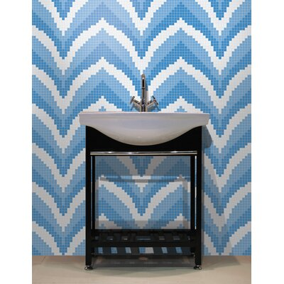 Urban Essentials Stylized Chevron 3/4 x 3/4 Glass Glossy Mosaic in Lakefront Blue