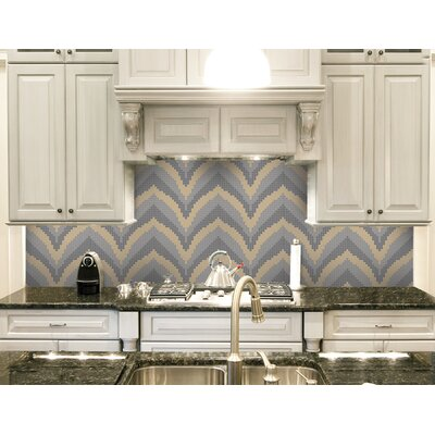 Urban Essentials Stylized Chevron 3/4 x 3/4 Glass Glossy Mosaic in Urban Khaki