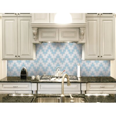 Urban Essentials Stepped Chevron 3/4 x 3/4 Glass Glossy Mosaic in Breeze Blue