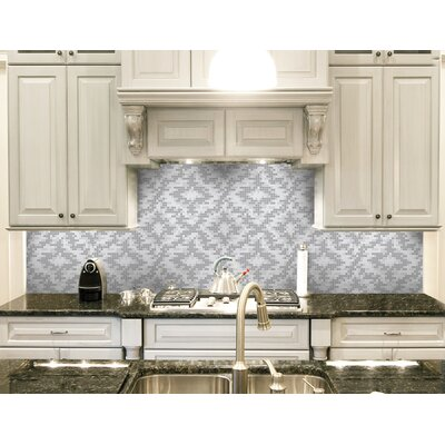 Urban Essentials Cepko Ikat 3/4 x 3/4 Glass Glossy Mosaic in Calm Grey