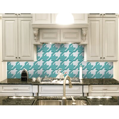 Urban Essentials Houndstooth 3/4 x 3/4 Glass Glossy Mosaic in Deep Teal