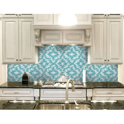 Urban Essentials Cepko Ikat 3/4 x 3/4 Glass Glossy Mosaic in Deep Teal