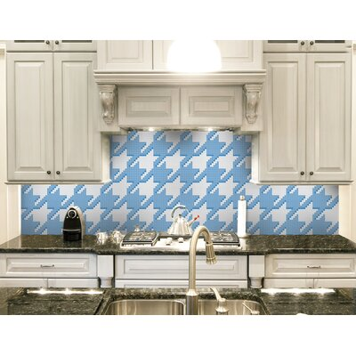 Urban Essentials Houndstooth 3/4 x 3/4 Glass Glossy Mosaic in Lakefront Blue
