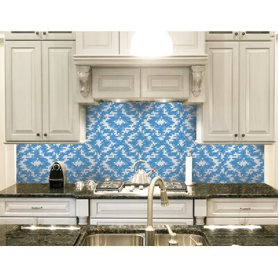 Urban Essentials Cepko Ikat 3/4 x 3/4 Glass Glossy Mosaic in Lakefront Blue