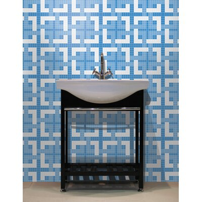 Urban Essentials Woven Lattice 3/4 x 3/4 Glass Glossy Mosaic in Lakefront Blue