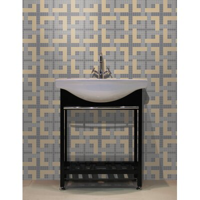 Urban Essentials Woven Lattice 3/4 x 3/4 Glass Glossy Mosaic in Urban Khaki