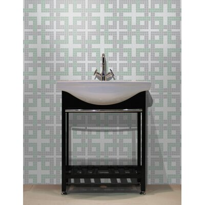 Urban Essentials Woven Lattice 3/4 x 3/4 Glass Glossy Mosaic in Placid Turquoise