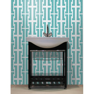 Urban Essentials Bold Chain 3/4 x 3/4 Glass Glossy Mosaic in Deep Teal