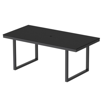 Kinzie Outdoor Modern Dining Table Base Finish: Textured Black Frame, Top Finish: Black