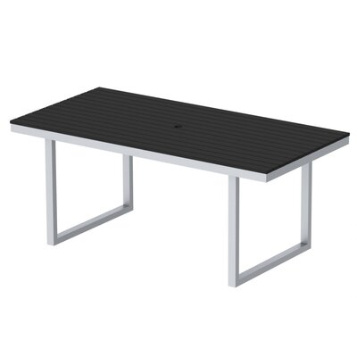 Kinzie Outdoor Modern Dining Table Base Finish: Miners Silver Frame, Top Finish: Black