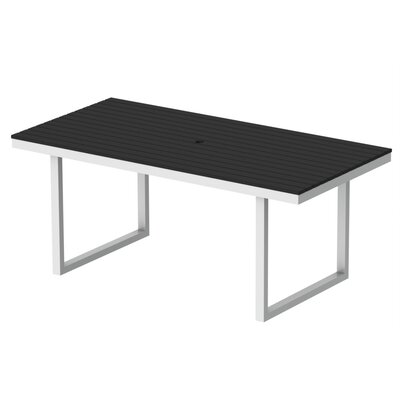 Kinzie Outdoor Modern Dining Table Base Finish: Textured White Frame, Top Finish: Black