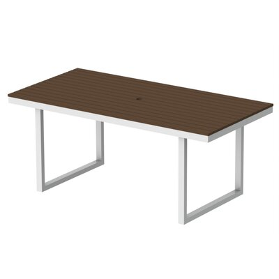 Kinzie Outdoor Modern Dining Table Base Finish: Textured White Frame, Top Finish: Venetian Cocoa