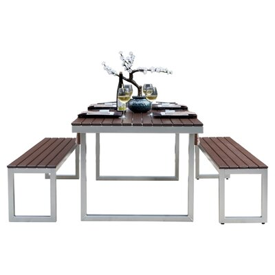 Kinzie Outdoor Modern 3 Piece Dining Set
