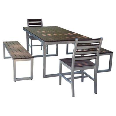 Kinzie Outdoor Modern 5 Piece Dining Set