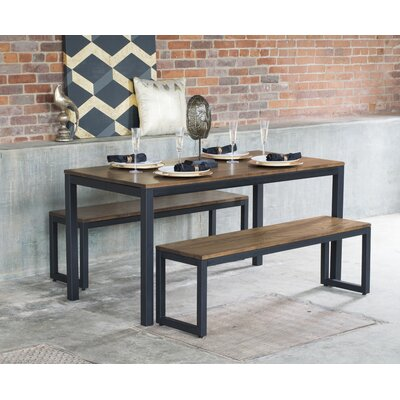 Loft 3 Piece Dining Set Finish: Chocolate / Checker Black