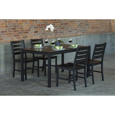 Loft 5 Piece Dining Set Table Top Color: Onyx, Size: 30 H x 30 W x 60 L