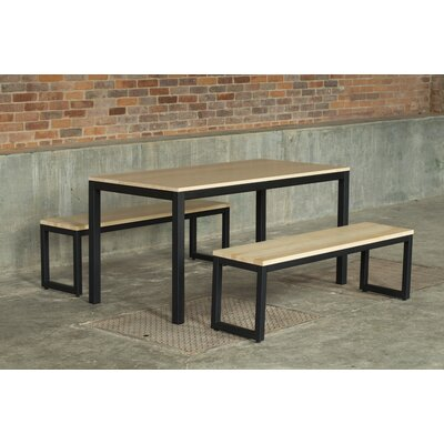 Loft 3 Piece Dining Set Frame Finish: Checker Black, Top Finish: Maple