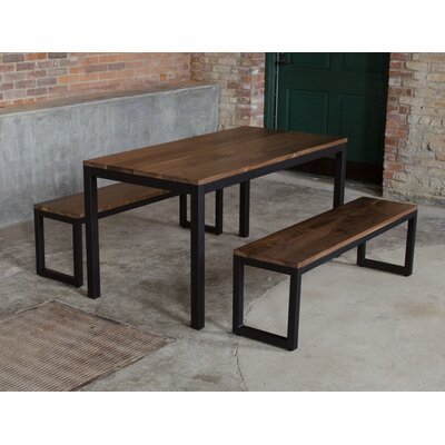 Loft 3 Piece Dining Set Frame Finish: Black, Top Finish: Walnut
