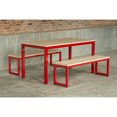 Loft 3 Piece Dining Set Frame Finish: Firehouse Red, Top Finish: Maple