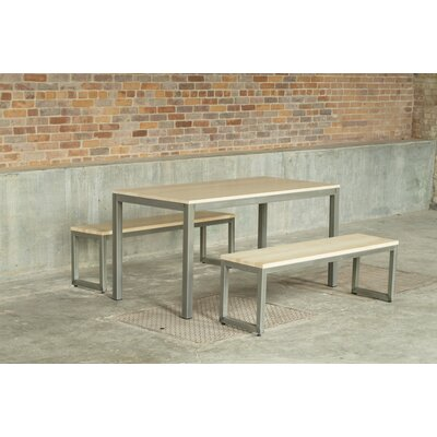 Loft 3 Piece Dining Set Frame Finish: Warehouse Metal, Top Finish: Maple