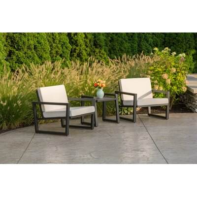 Vero 3 Piece Lounge Seating Group with Cushions Finish: Textured Black, Fabric: Logo Red