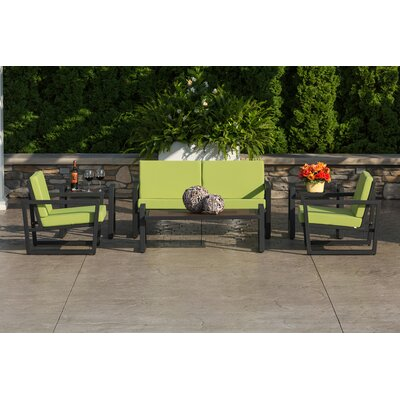 Vero 5 Piece Lounge Seating Group Finish: Textured Black, Fabric: Ginko