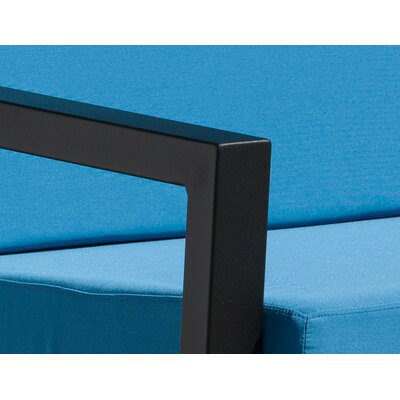 Vero 5 Piece Lounge Seating Group Finish: Textured Black, Fabric: Sky Blue