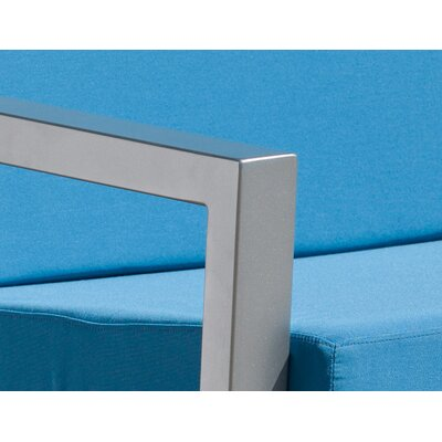 Vero 5 Piece Lounge Seating Group Fabric: Sky Blue, Finish: Gloss Silver