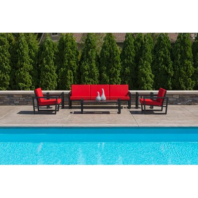 Vero 6 Piece Lounge Seating Group Fabric: Logo Red, Finish: Textured Black