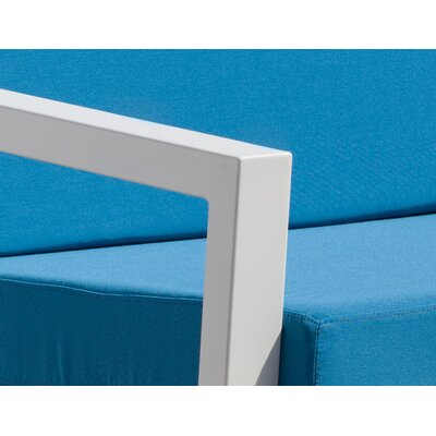 Vero 5 Piece Lounge Seating Group Fabric: Sky Blue, Finish: Textured White