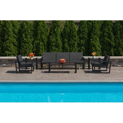 Vero 6 Piece Lounge Seating Group Fabric: Charcoal, Finish: Textured Black