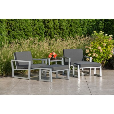 Vero 5 Piece Lounge Seating Group Finish: Gloss Silver, Fabric: Charcoal