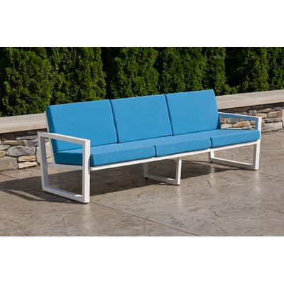 Vero Sofa with Cushion Fabric: Sky Blue, Finish: Textured White