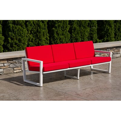 Vero Sofa with Cushion Fabric: Logo Red, Finish: Textured White