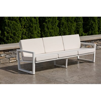 Vero Sofa with Cushion Fabric: Birds Eye, Finish: Textured White
