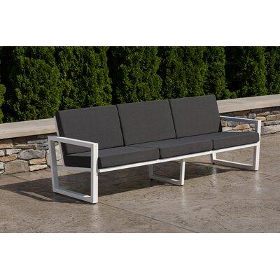 Vero Sofa with Cushion Fabric: Charcoal, Finish: Textured White