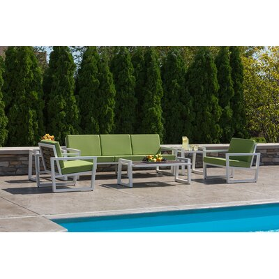 Vero 6 Piece Lounge Seating Group Fabric: Ginko, Finish: Textured White