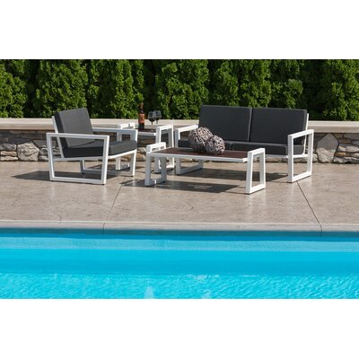 Vero 4 Piece Lounge Seating Group with Cushions Fabric: Sky Blue, Finish: Textured White
