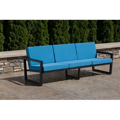 Vero Sofa with Cushion Fabric: Sky Blue, Finish: Textured Black