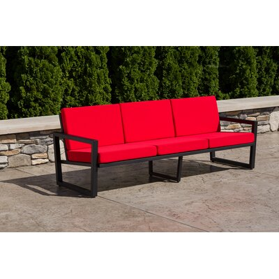 Vero Sofa with Cushion Fabric: Logo Red, Finish: Textured Black